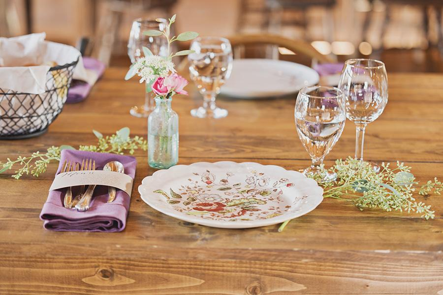 Vintage Place Setting For Intimate Barn Wedding